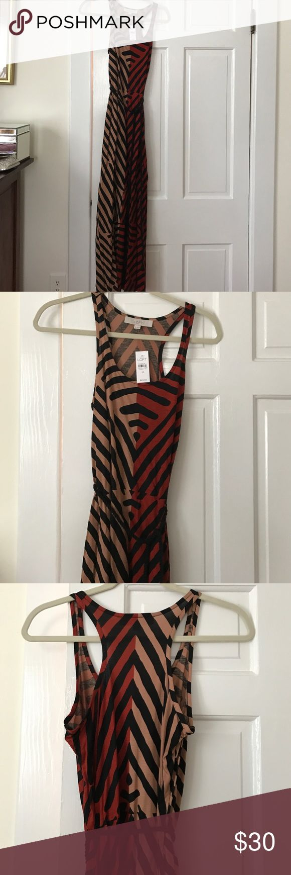 Maxi patterned brown and tan striped dress Maxi brown and tan striped dress with black rope belt attached. Anne Taylor Loft, size XS, new with tags LOFT Dresses Maxi