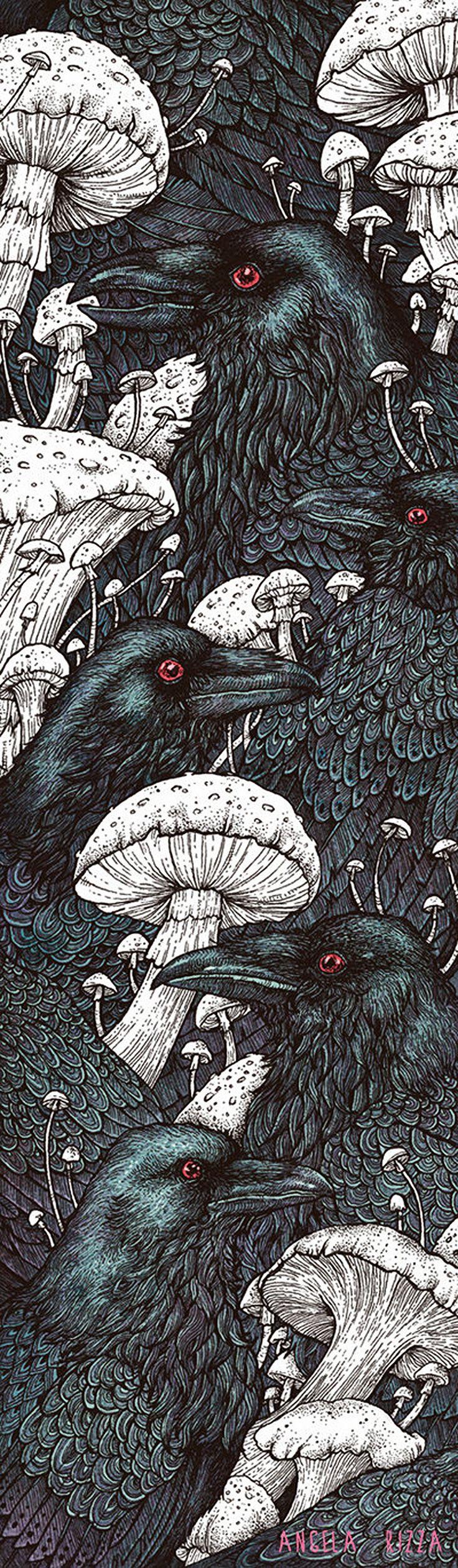 """Decay"" - Angela Rizza {contemporary art animals crows #ravens birds mushrooms illustration} angelarizza.deviantart.com"