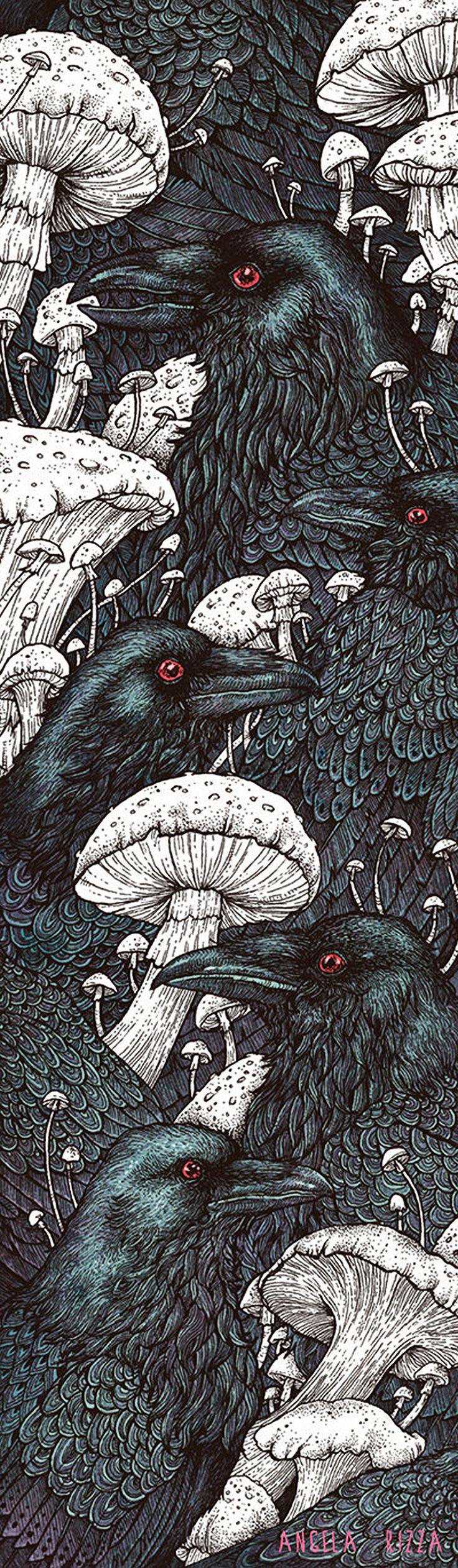 """Decay"" - Angela Rizza {contemporary artist animals crows #ravens birds mushrooms illustration} angelarizza.deviantart.com"