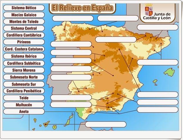 """""""El relieve en España"""" es un sencillo juego de la Junta de Castilla y León en el que hay que situar los nombres de los principales elementos del relieve interior de España: cordilleras, picos y maesetas."""