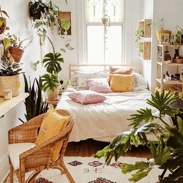 Urban Jungle Bedroom With A Lot Of Plants And Morrocan Cushions Wicker Chair Colourful Bedroom Philode Small Room Bedroom Bedroom Interior Aesthetic Bedroom Urban jungle bedroom ideas