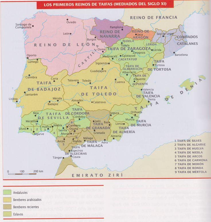 Mapa de los primeros reinos de Taifas.