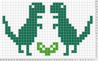 T-Rex my favorite things scarf knitting chart