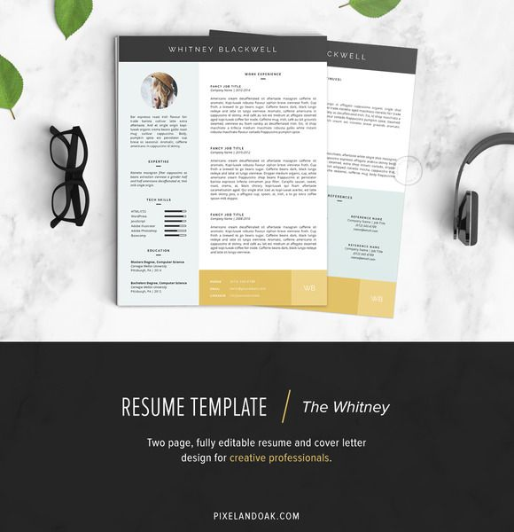 Resume Template | The Whitney 3pk by Pixel & Oak on @creativework247