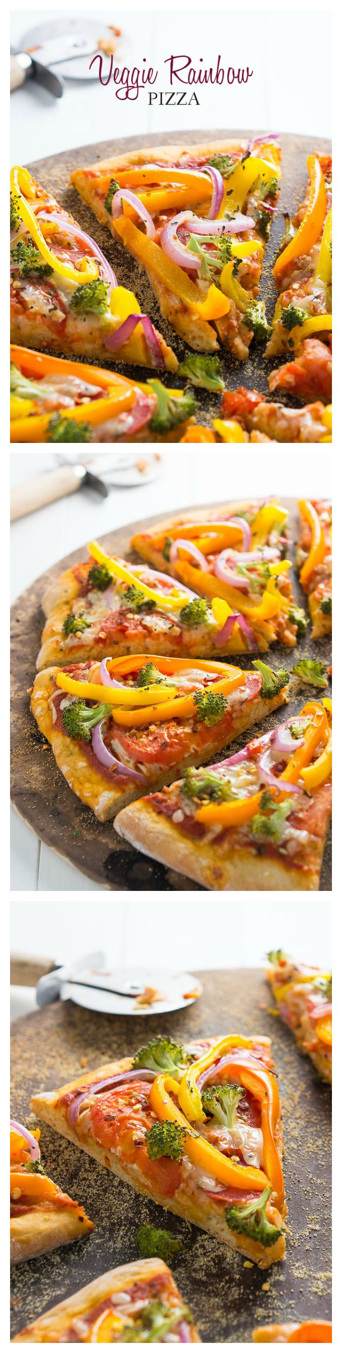 Veggie Rainbow Pizza | A healthy festive meal for St. Patrick's Day or meatless Monday!