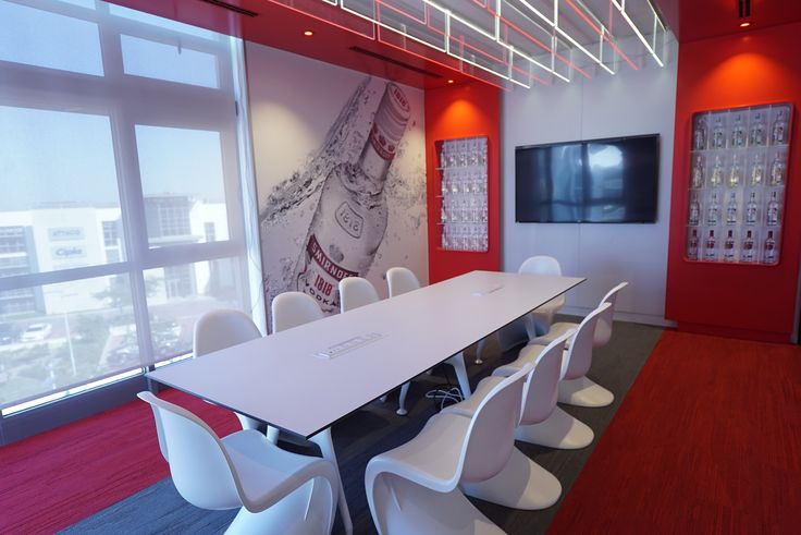 Bold Red and White Meeting Room