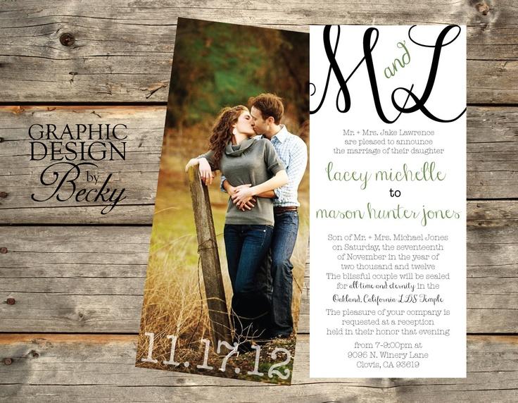 Monogram & Photo Wedding Invitations. $30.00, via Etsy.