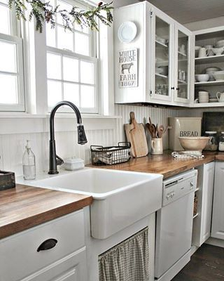 Im seriously contemplating the idea of putting butcher block countertops in our cabins kitchen Im so inspired by this gorgeous kitchen by farmhouse Dont you love it