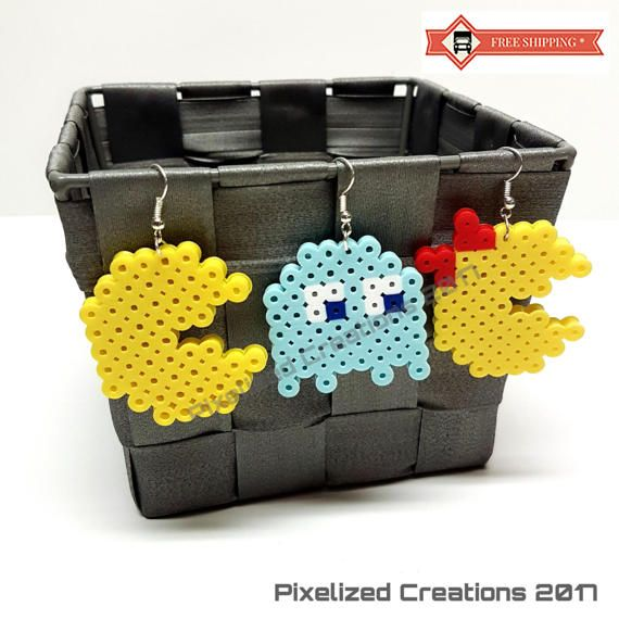 Mini Pac-Man or Ms. PacMan & Ghost Arcade Game Inspired Silver