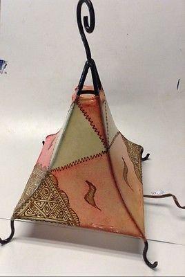 Moroccan Henna Lamp in Tattooed Goat Skin & Iron Eclectic Table Lamp Pink