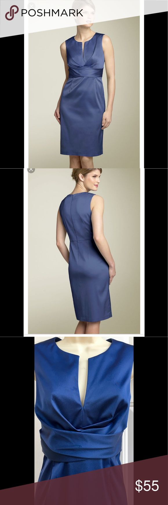 Donna Ricco Blue Satin Split Neck Sheath Dress 6 Donna Ricco. Blue Satin Split Neck Sheath Dress. Artfully crisscrossed waist accents the front of an elegant dress cut from stretch satin. Finished with a split neck and darted skirt for a slimming silhouette. Back zip with hook. Size 6. Donna Ricco Dresses