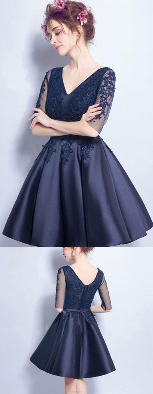 Short Prom Dresses, Sexy Prom dresses, Prom Dresses Short, Navy Prom Dresses, Prom Short Dresses, Sexy Homecoming Dresses, Homecoming Dresses Short, Short Homecoming Dresses, Sexy Party Dresses, Short Party Dresses, V-Neck Homecoming Dresses, Navy Homecoming Dresses, Navy V-Neck Homecoming Dresses, Sexy Homecoming Dress V-neck Knee-length Satin Short Prom Dress Party Dress