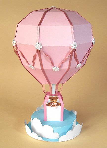 Card Making Templates - Hot Air Balloon, pink version -card carousel.co.uk