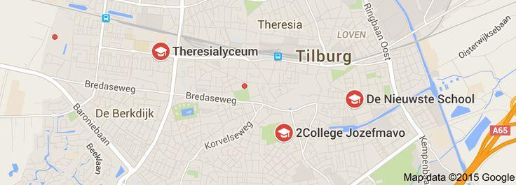 Map of open dagen middelbare scholen in Tilburg
