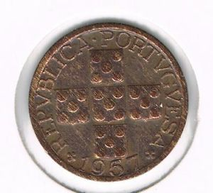 Portugal Old Coin X Centavos 1957 BRONZE- KM#583