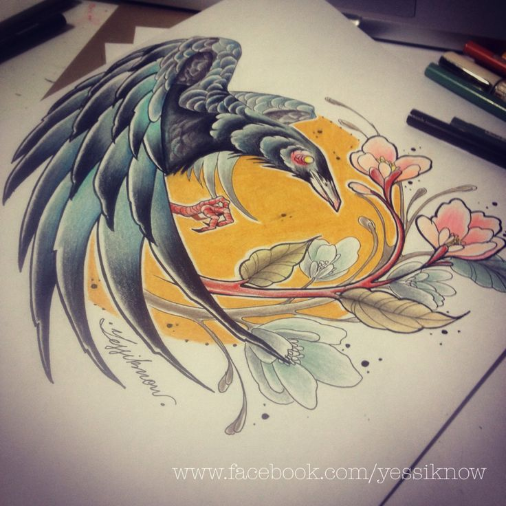 Crow neo traditional #yessiknow #mexicantattoo