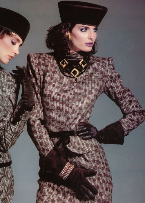 Joan Severance 1980s fashion. Love the fabrics on these two suits.