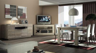 Meublez votre salon avec le meuble TV d'angle chêne gris et anthracite laqué contemporain FABIO. Excellente fabrication française !