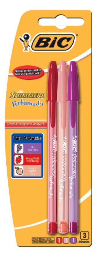 Caneta Esfero Shimmers C/03 Cores Perfumadas
