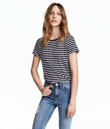 Cotton T-shirt | Dark blue/striped | Women | H&M US