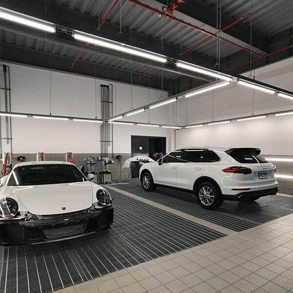 Lighting Project For Porsche Showroom Ip65 Led Linear Light Or Ip65 Led Batten Light Porsche Showroom Car Workshop Garage Design