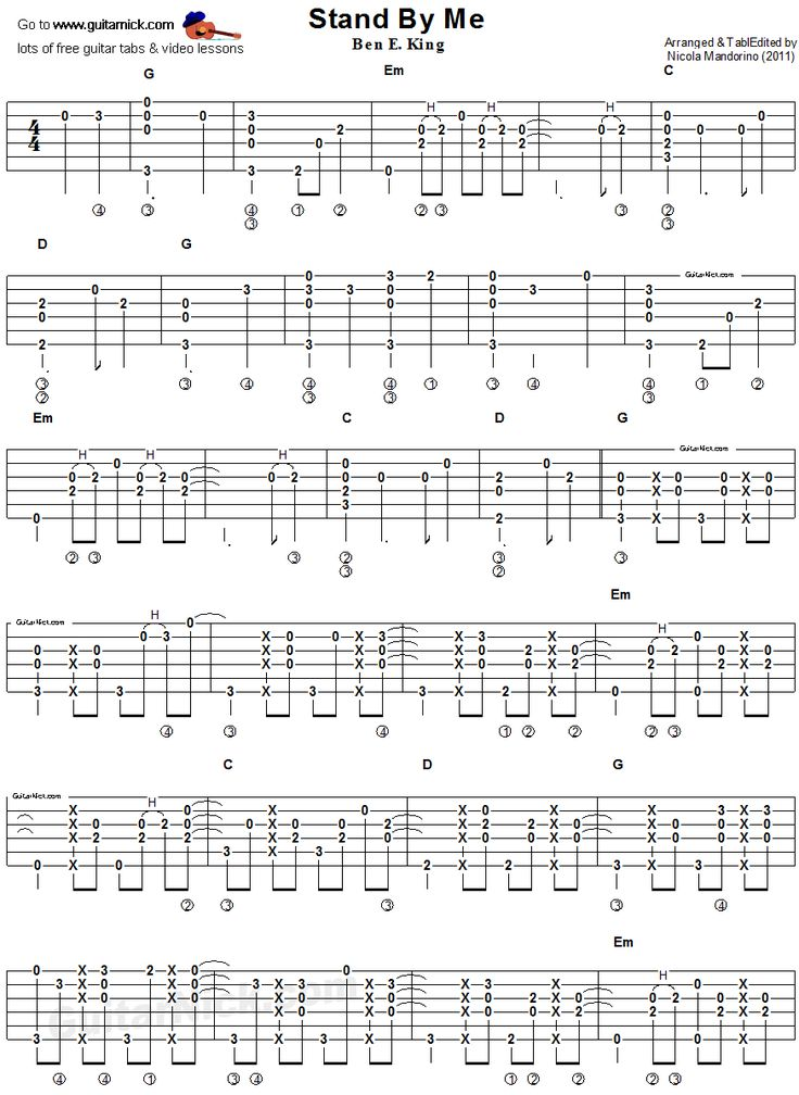 Stand By Me, Guitar tablature, Part 1 - a good beginner song that every guitarist should know