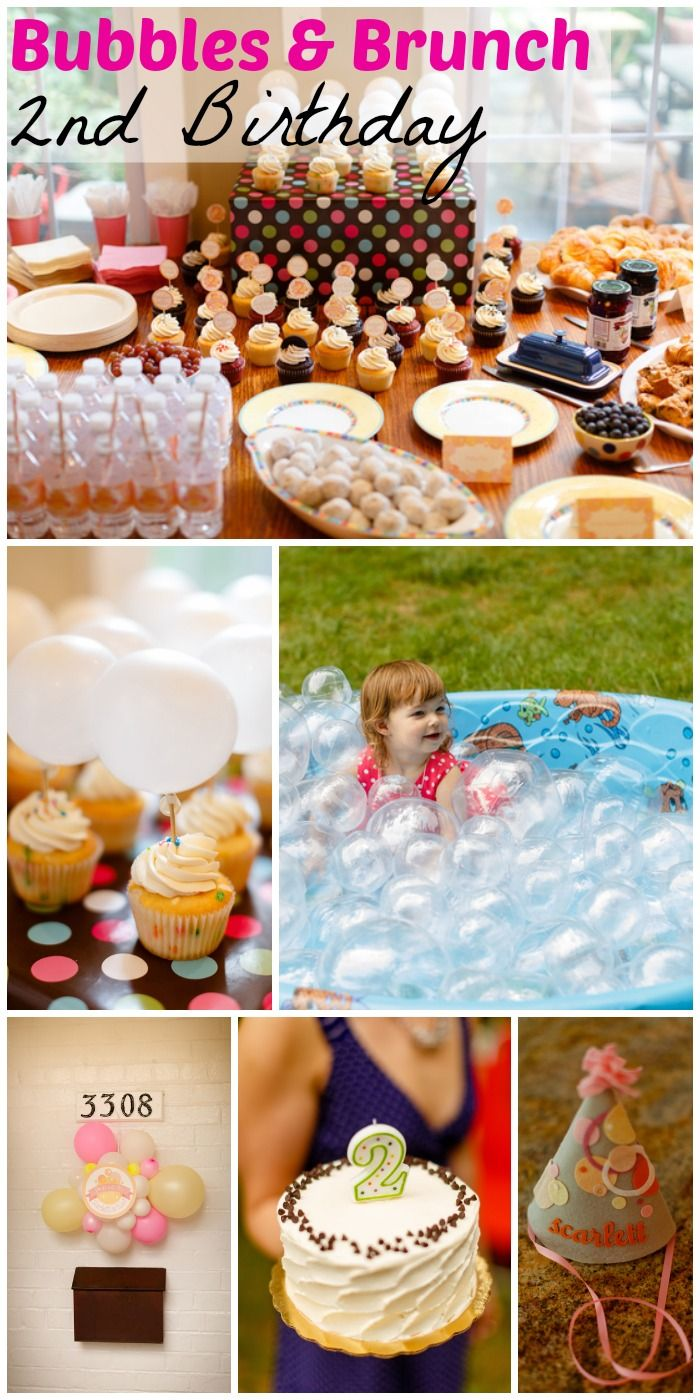 So many cute ideas at this bubbles & brunch 2nd birthday party! See more party ideas at CatchMyParty.com. #girlbirthday #kidspartyideas