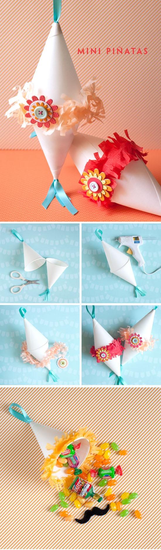 DIY :: Mini Piñata  ( http://onecharmingparty.com/2011/04/29/cinco-de-mayo-pinata/ )