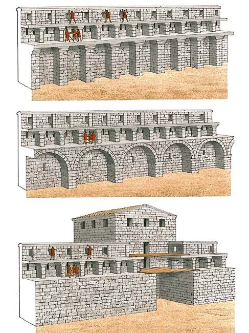 """""""The curtains at Side""""   The fortifications at Side, which possibly date froma little later than those at Perge, were constructed with the same observance of the latter's main principle – to provide formaximum firepower. In Side, however, the architect was a creative professional: he devised three complex versions of the curtain, thus succeeding in obtaining an additional increase in their firepower"""