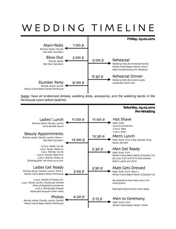 Wedding Timeline Master Schedule Adjust Accordingly For Earlier Ceremonies From Sol Gutierrez