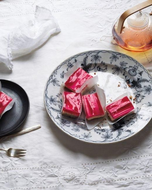 Rhubarb-Raspberry Cheesecake Squares Recipe