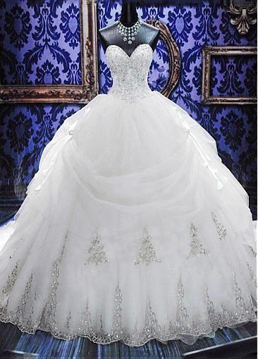Elegant Organza Sweetheart Neckline Basque Waistline Ball Gown Wedding Dress With Embroidery & Rhinestones