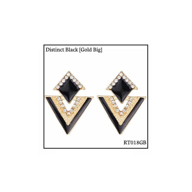 Ref: RT018GB Distinct Black [Gold Big] . Medidas: 3.5 cm x 2.8 cm . So Oh: 5.99 . Disponível para entrega imediata! Boas compras! #sooh_store #onlinestore #rhombus #trigonal #brincos #earrings #fashion