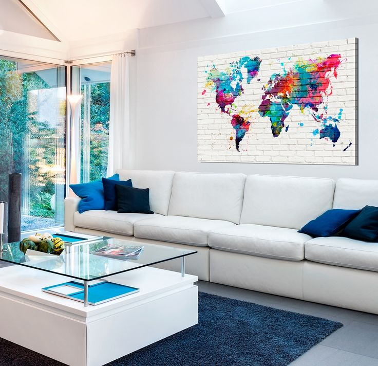 Whole world is waiting for you! This colourful world map is not only decorative canvas print, but also an useful pinboard