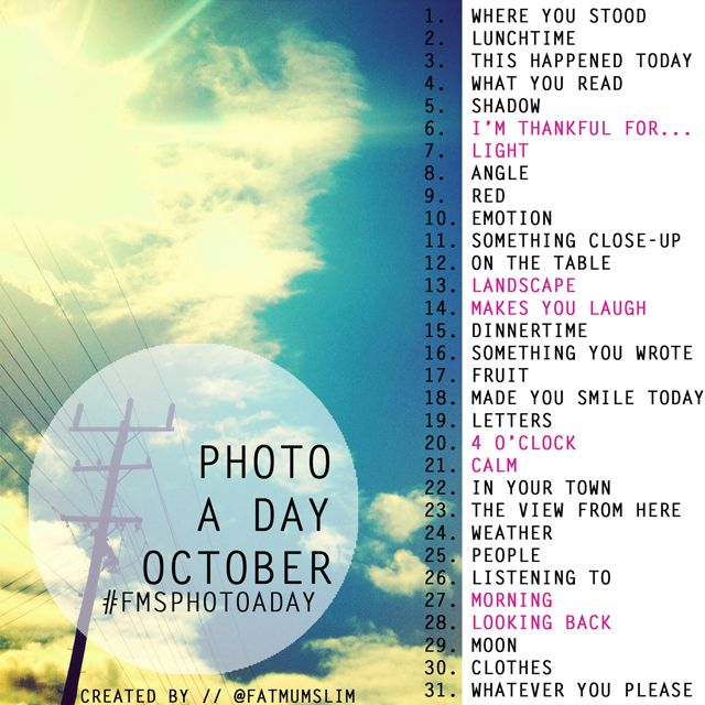 October photo a day challenge list: @fatmumslim // I'm playing along, who's in?