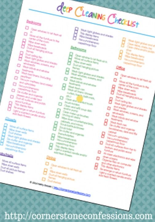 Deep Cleaning Checklist Free Printable Cleaning