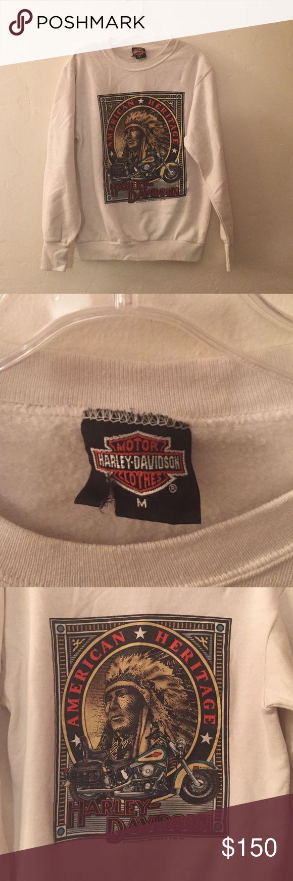 Vintage Harley Davidson sweatshirt Great condition. Color is cream Harley-Davidson Tops Sweatshirts & Hoodies