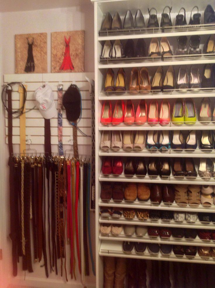 More shoes, belts on a slat board