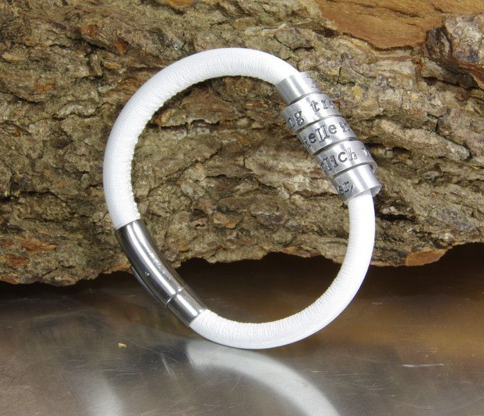 Persoonlijke Nappa leren en aluminium armbandje incl. graveren NADINES.NL