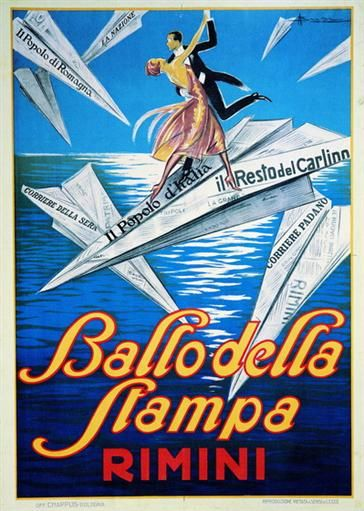 Rimini 1927  Tango Aerodinamico. Manifesto di Adolfo Busi per il ballo della stampa del 1927