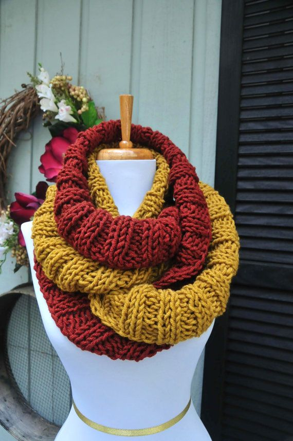 Chunky Knit Infinity Scarf Rust Red & Honey Gold Scarf by PhylPhil