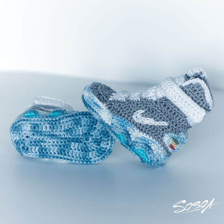 Crocheted baby Nike Mags from Back to the Future!