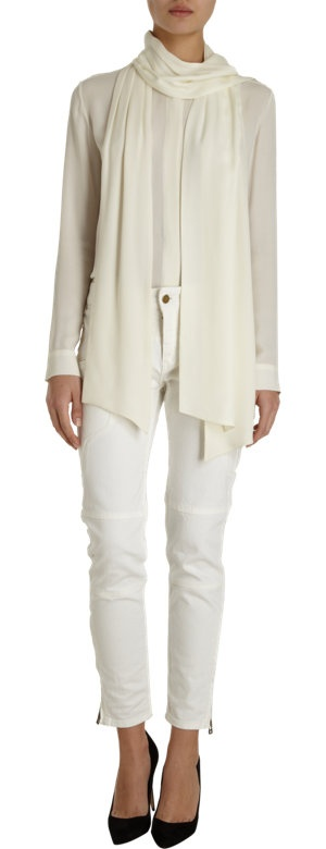 Marissa Webb Ada silk sash blouse in linen white