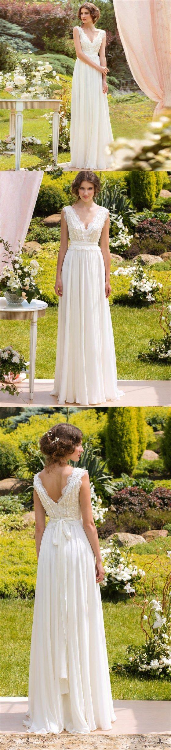 V Neck Long Simple Soft Fairy Pretty Charming Wedding dresses, Long Beach Wedding Gown, PD0310