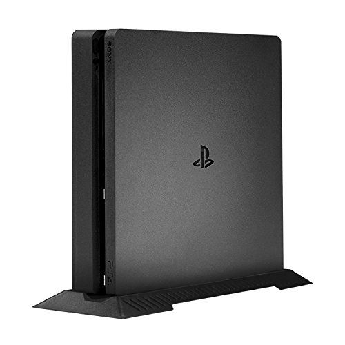 PS4 Slim Stand, Keten PS4 Slim Vertical Stand for Playstation 4 Slim with Built-in Cooling Vents and Non-slip Feet  Only for PS4 Slim: Specially designed for PS4 Slim Console  Space Saving: Allows you to store your PS4 System in its upright vertical position.  Succinct Appearance: Smooth gloss and matt textured finish to compliment your PS4 Slim.  High-quality Material: Made of high- quality ABS engineering materials.  What you get: 1* PS4 Slim stand. Keten offers 45 days 100% money ba...
