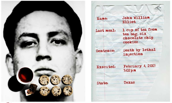 John William Elliot---The Last Meals Project — Jonathon Kambouris visually documents the face and last meal of convicted killers in order to question how society is really served by the death penalty. http://ht.ly/f05cX