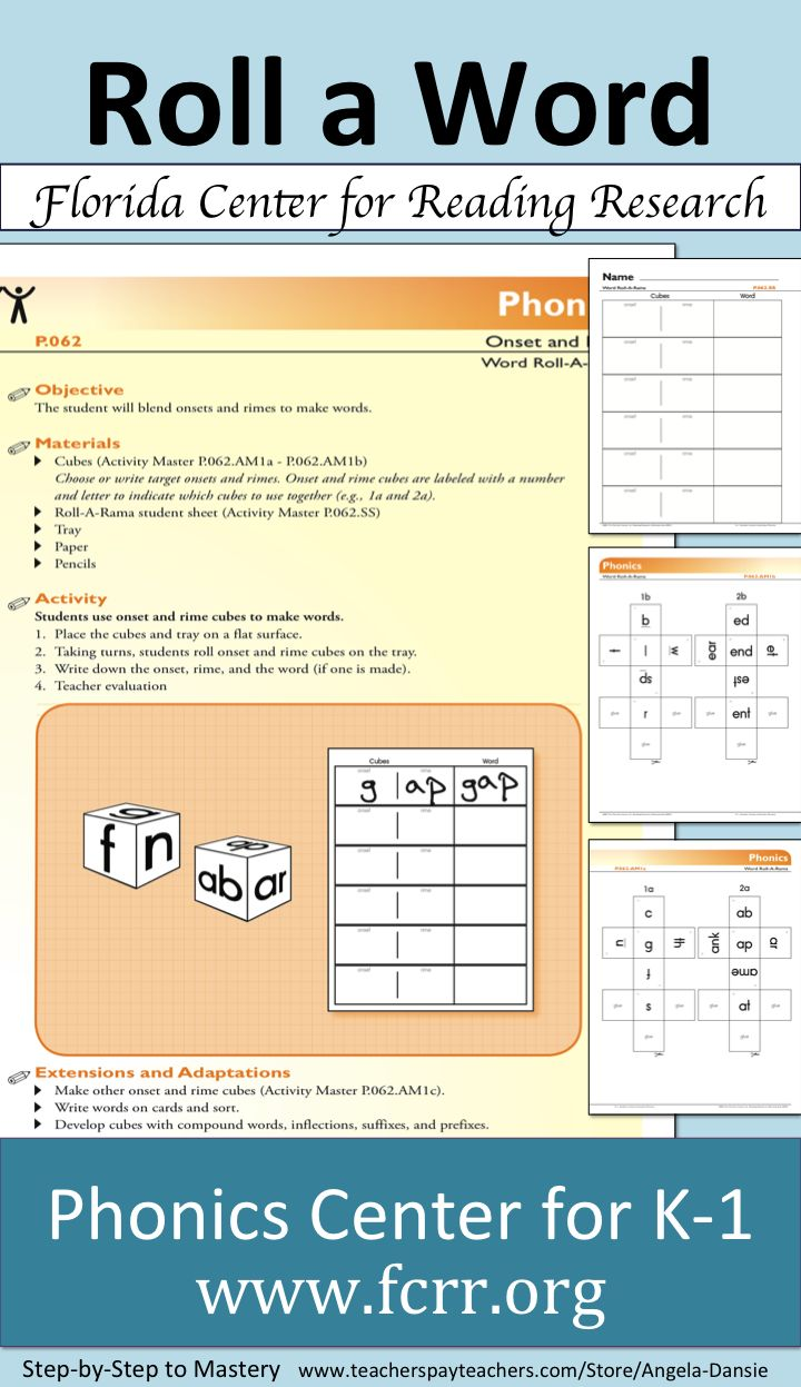 Free Phonics Center Activity  Rime Sort  For More Phonemic