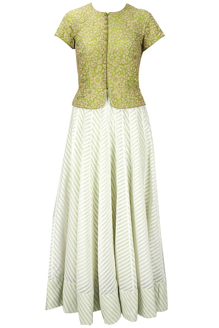 Off white and lime green dori work anarkali set available only at Pernia's Pop-Up Shop.