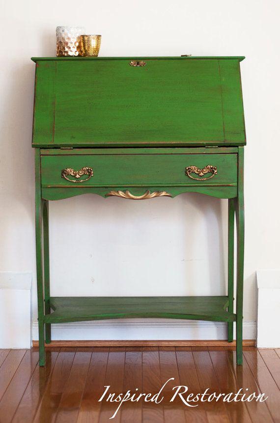 Refinished Antique Secretary Desk / Slant by InspiredRestoration, $275.00 - Best 25+ Antique Secretary Desks Ideas On Pinterest Painted
