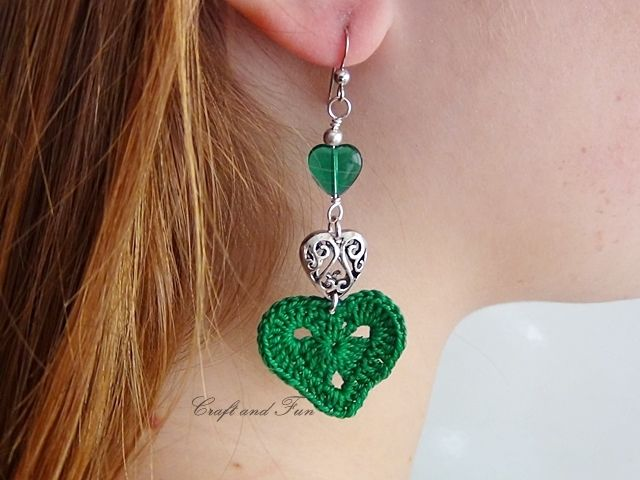 Had to pin this..hearts AND crochet AND earrings!  DIY earrings crochet - tutorial available